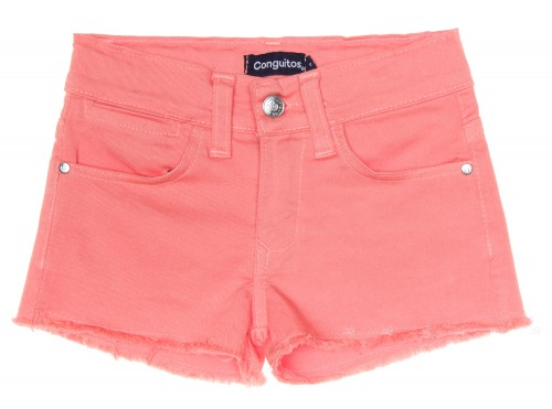 Girls Peach Denim Shorts