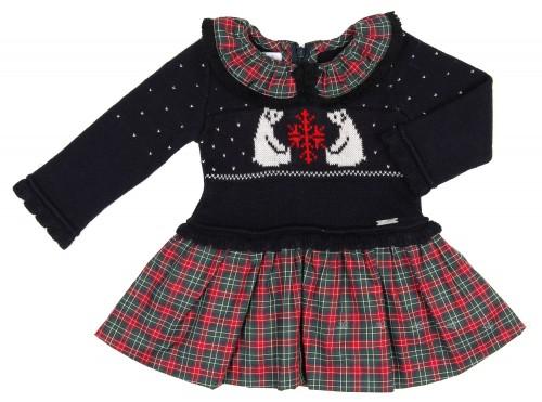 Navy Blue Polar Bear Sweater Dress & Red Check Skirt