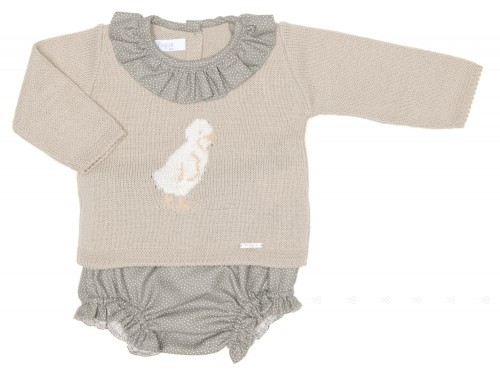 Baby Green Knitted Chick Sweater & Bloomers Set