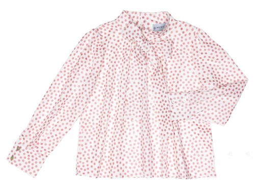 Girls White Blouse & Pink Glitter Polka Dots With Bow Collar
