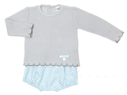 Baby Gray Knitted Sweater & Polka Dot Light Blue Short