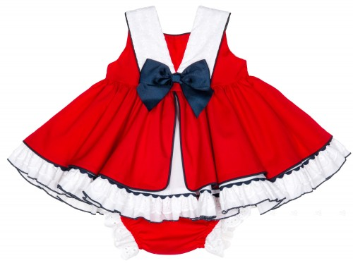 Baby Girls Red & White 2 Piece SailorDress Set