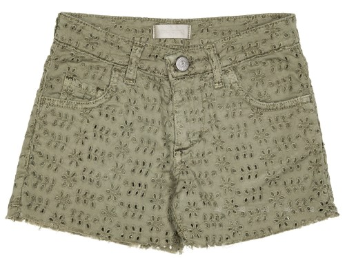 Girls Khaki Green Broderie Shorts