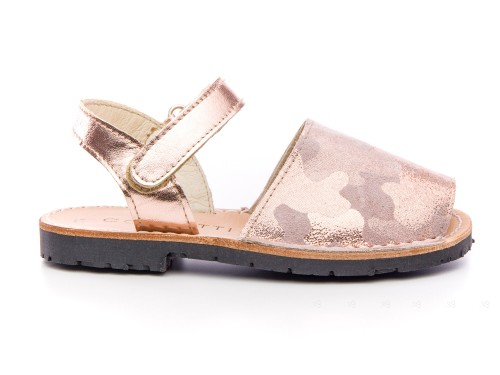 Girls Pink Metallic Leather Traditional Menorcan Sandals with Camouflage