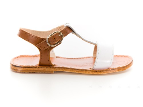 Girls White & Tan Strappy Leather Sandals