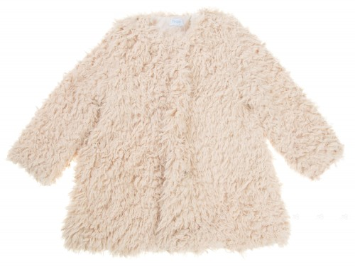 Girls Ivory Synthetic Fur Coat