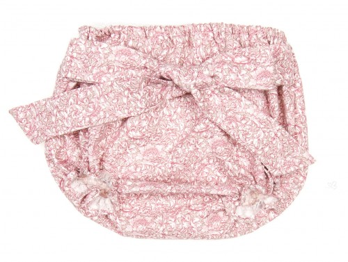 Baby Girls Dusky Pink Floral Shorts with Bow