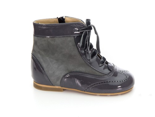 Gray Patent & Suede Pascuala Boots