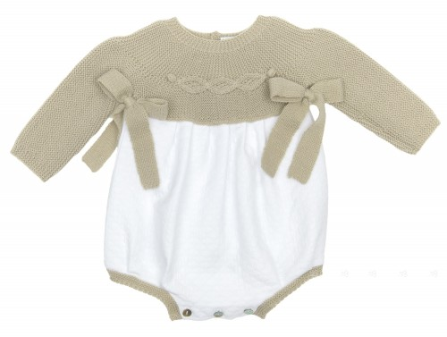Siena & White Soft Knitted Cotton Shortie with bows
