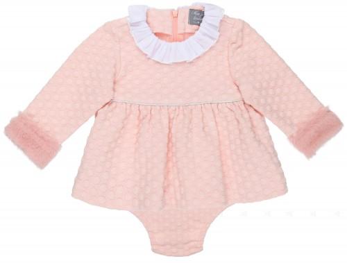 Mon Petit Bonbon Conjunto Bebé Niña Vestido & Braguita Lunares Rosa Empolvado