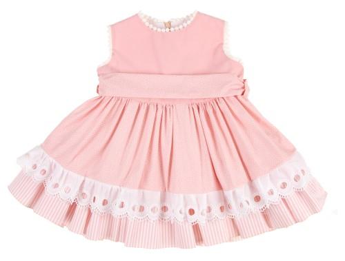 Pink & White Cotton Lace Ruffle Dress