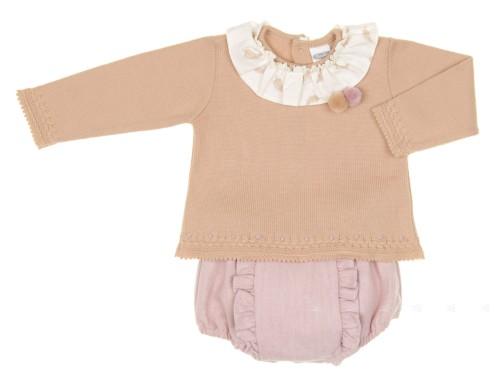 Baby Beige Pom-Poms Sweater & Pink Floral Short
