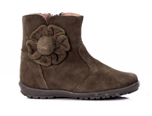 Brown Suede Boots with Flower
