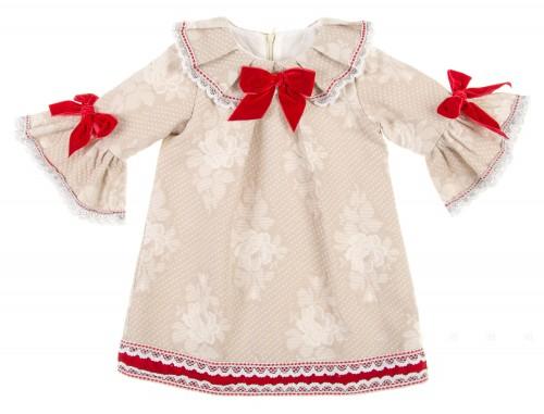 Beige & Red Three-Quarter Sleeve Brocade Dress