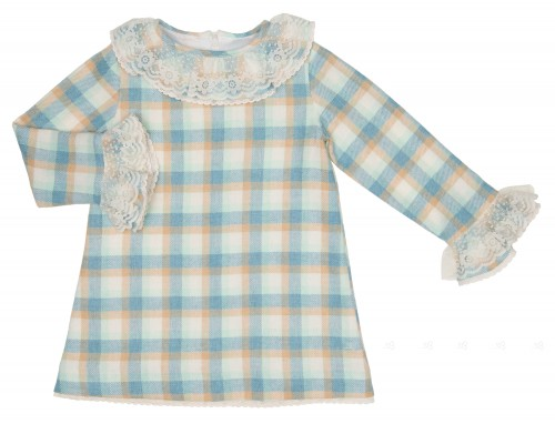 Blue & Beige Check Print Dress with Lace Collar