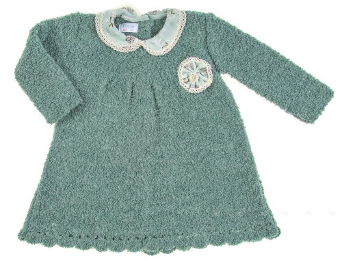 Green Boucle Knit Dress