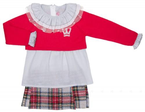 Girls Bottle Green Checked Blouse, Crown Sweater & Ruffle Shorts Set