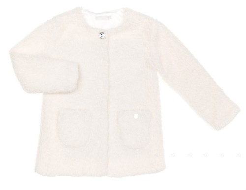 Girls Ivory Bouclé Cardigan