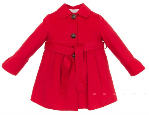 Girls Red Gabardine Trench Coat With Layered Frilly Back