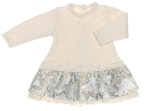 Baby Ivory Knitted & Velvet Skirt Dress
