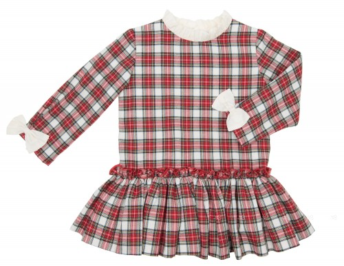 Red Check Tartan Dress with Frilly Collar & Bows