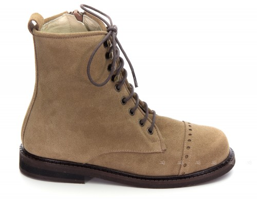 Girls Beige Suede Lace Up Boots