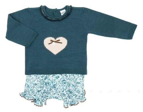 Baby Blue Knitted Sweater & Floral Short