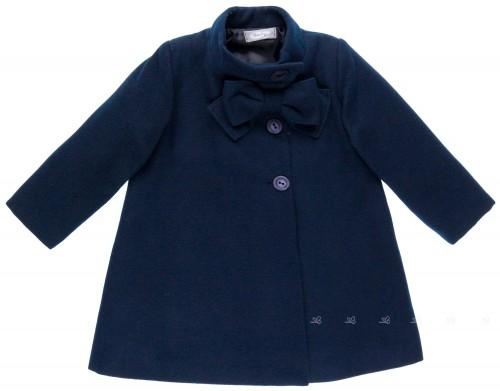 Girls Dark Blue Coat with Bow