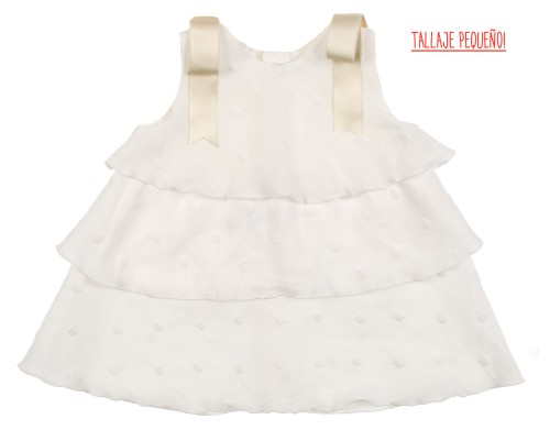 Ivory Embroidered Polka Dot Ruffle Dress With Ivory Bows