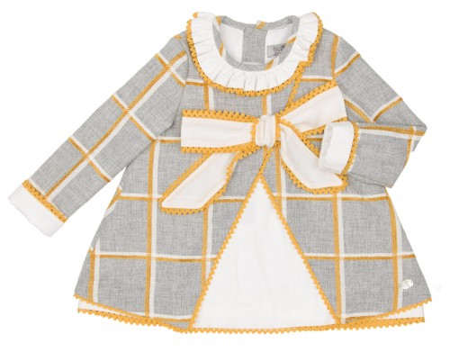 Gray & Mustard Checked Dress with Ivory Bow