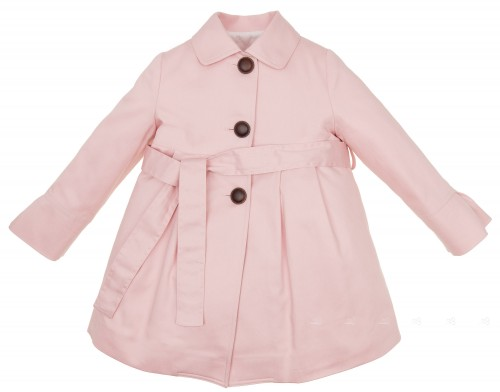 Girls Pink Gabardine Trench Coat With Layered Frilly Back