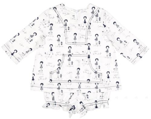 Girls White Miss Print Blouse & Shorts Set