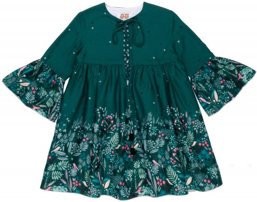 Badum Badero Vestido Niña Mangas Campana Verde & Flores