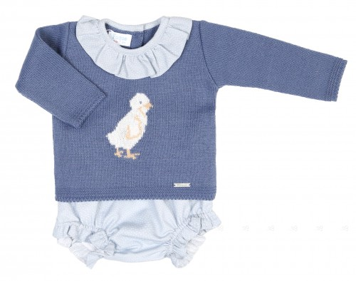 Baby Blue Knitted Chick Sweater & Bloomers Set