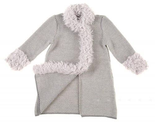 Grey Knitted Coat With Synthetic Fur
