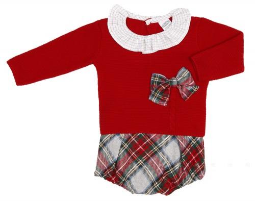 Baby Red Knitted Sweater &Tartan Short Set