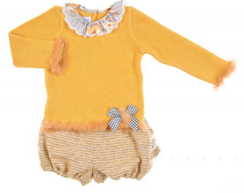 Mustard Knitted Sweater & Tweed Ruffle Shorts Set