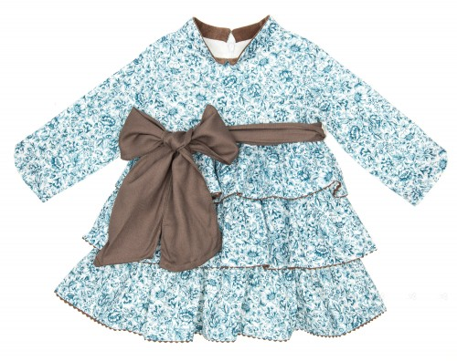 Blue Floral Print Layered Frilly Dress