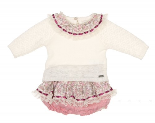 Baby Knitted Sweater & Pink Cheviot Short Set
