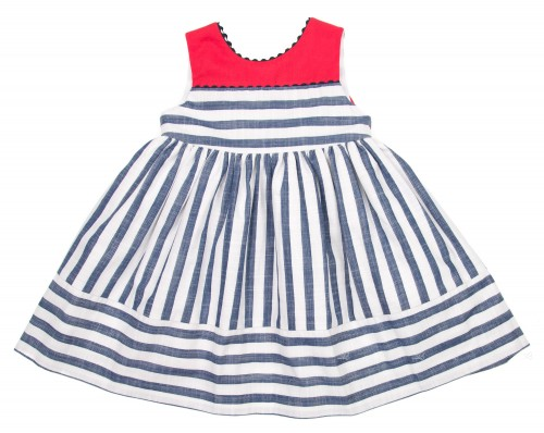 Blue & White Striped Dress with red bow