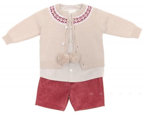 Baby Boys Shirt, Cardigan & Shorts Set