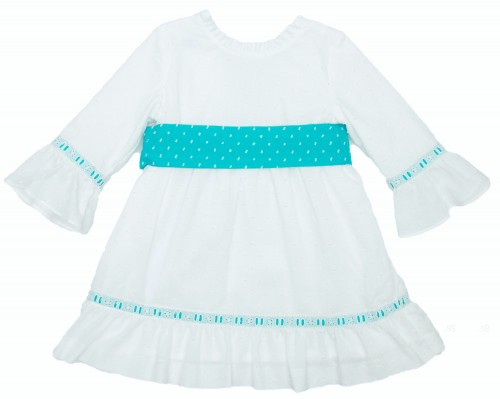 White & Aqua Green Polka Dot Three-Quarter Sleeve Dress