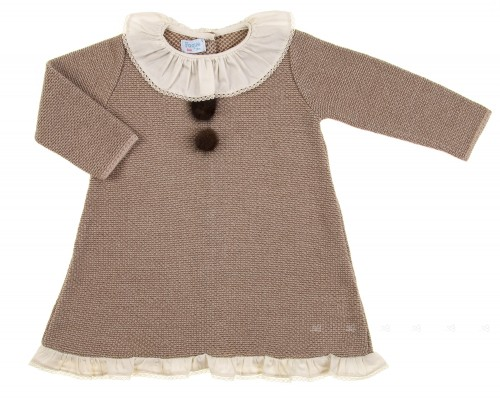 Beige & Brown Knitted Dress with pompoms & Ruffle Collar