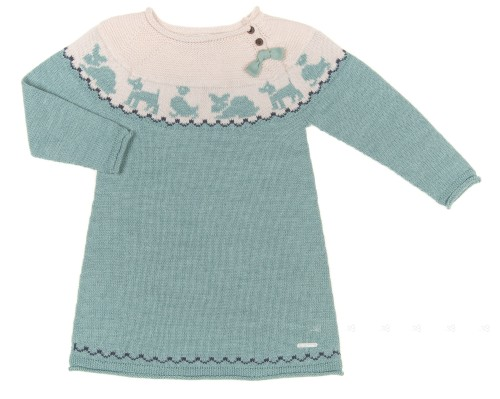Mint & Beige Animals Knitted Dress