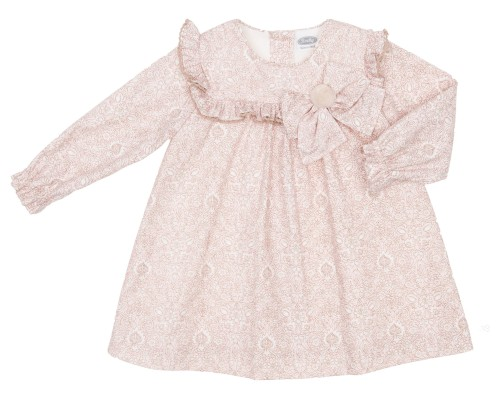 Pale Pink & Beige Dress With ruffle frill detail