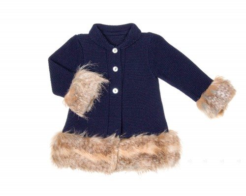 Navy Blue Knitted Coat with Synthetic Fur Cuffs & Hem