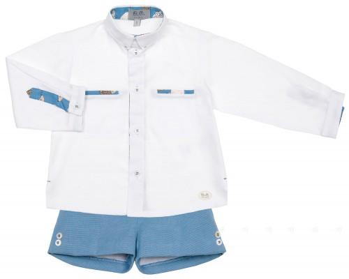 J.V. José Varón Conjunto Niño Camisa Blanca & Short Azul