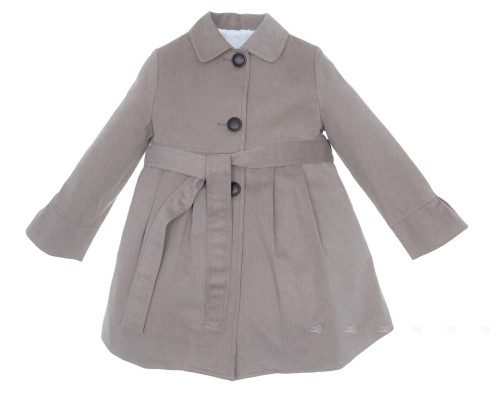 Girls Taupe Gabardine Trench Coat With Layered Frilly Back