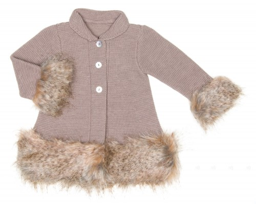 Taupe Knitted Coat with Synthetic Fur Cuffs & Hem