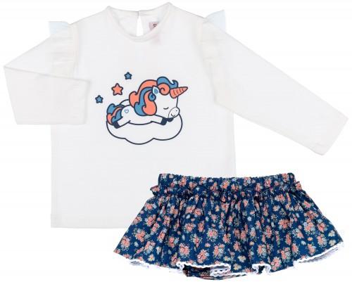 Conjunto Niña Camiseta Unicornio & Braguita-Falda Liberty Marino